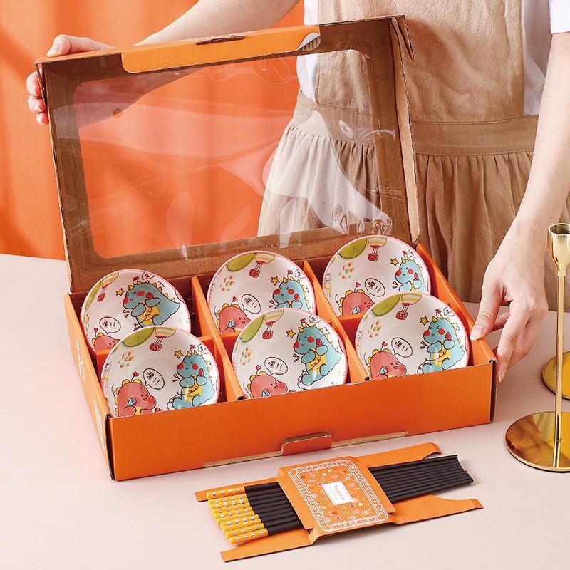 可愛卡通 陶瓷碗筷 餐具禮盒