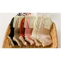 花邊日系甜美純色蕾絲短襪 ( 六色一組 )
