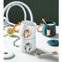 超萌立體貓咪陶瓷馬克杯 超高質感 情侶對杯