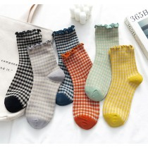 學院風 格紋木耳邊中筒襪(一組6雙)
