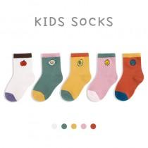 秋冬 兒童中筒可愛刺繡襪 ( 五雙一組 )