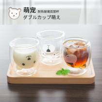 創意可愛卡通雙層小熊玻璃杯