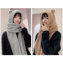 冬季造型保暖熊帽+圍巾+手套 一體