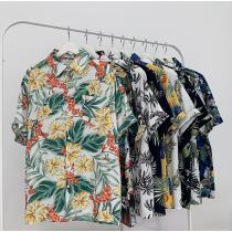 男生夏季沙灘花襯衫