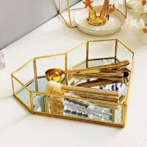 北歐風 復古銅條玻璃鏡面首飾擺盤盒