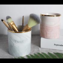 北歐時尚 大理石紋金邊 陶瓷收納杯 化妝筆筒