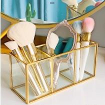 《現貨》北歐風 三格 - 復古銅條玻璃鏡面首飾擺盤盒