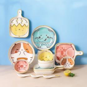 可愛動物 陶瓷碗盤 飯碗 深盤 手把盤 湯勺